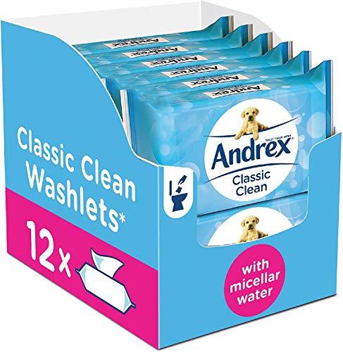 Andrex Classic Clean Washlets Moist Toilet Tissue, certified 'Fine to Flush', Plastic Free & Biodegradable, 12 packs