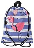 Aminata Kids - Kinder-Turnbeutel für Mädchen und Damen mit Geschenk für Party Papagei Kaktus Blume-n Flamingo Sport-Tasche-n Gym-Bag Sport-Beutel-Tasche pink blau Weisse Rose Streifen