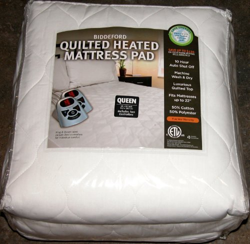 Buy Discount Biddeford Quilted Heated Mattress Pad Queen by BIDDEFORD