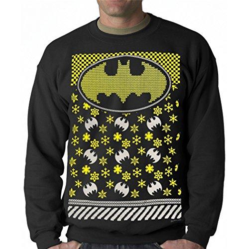 BATMAN Snowflake Faux Ugly Christmas Sweater-X-Large Black