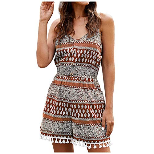 Sale!! ANJUNIE Womens Loose Floral Slim Fringed Jumpsuit Sundress Swing Mini Dress Skirt(Orange,S)