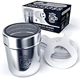 Chocolate Duster Shaker Stainless Steel – Powder Shaker for Cocoa Sugar Flour Baking Cakes Coffees Desserts – Extra 16 Stencils Included – Free eBook