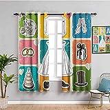 WXhGY 3D Chambre Rideau occultant Couleur Jupe Chapeau gâteau 205x165cm Décoration De Fenêtre De Chambre d'enfants Chambre Minimaliste Moderne