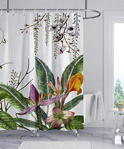 wtisan Shower Curtain Floral,Tropical Shower Curtain,Waterproof Fabric Shower Curtains for Bathroom with 12 Plastic Hooks, 72x72 Inch