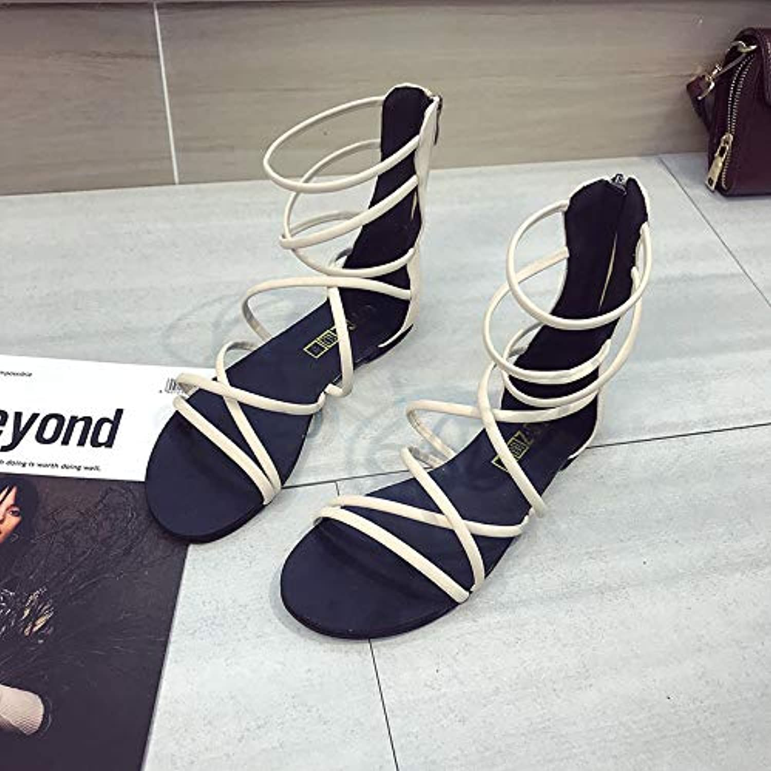 Summer New Sandals Europe and The United States Open Toe Flat Foot Ring Straps Back Zipper Female Bohemian Sandals,B,US6 EU36 UK4 CN36