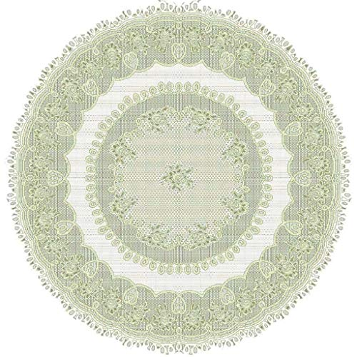 jieGorge White or Cream Lace Kitchen Table Cloth Tablecloth Round or Oblong choice, Home Decor for Easter Day (Green)