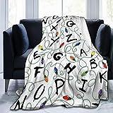 CURYSAMJUN Throw Blanket, Luxury Cozy Fleece Blanket, Warm Super Soft Comfort Caring 50' x 60', Stranger Letter Things White