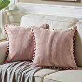 Fancy Homi Pack of 2 Decorative Throw Pillow Covers with Pom-poms, Soft Corduroy Solid Square Cushion Case Pillow Cases Set for Couch Sofa Bedroom Car Living Room (18x18 Inch/45x45 cm, Blush Pink)