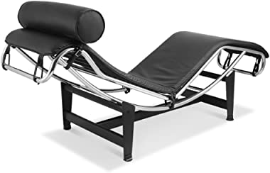 Chaise Lounge Chair, Made with Genuine Top Grain Italian Leather - Black
