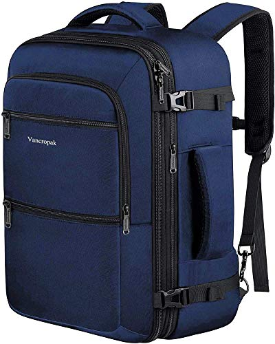 40L Travel Backpack, Flight Approved Weekender Carry on Backpack Hand Luggage,Expandable Extra Large Business Backpack for Men and Women,Durable Anti-Theft Suitcase Backpack for Airplane, Blue