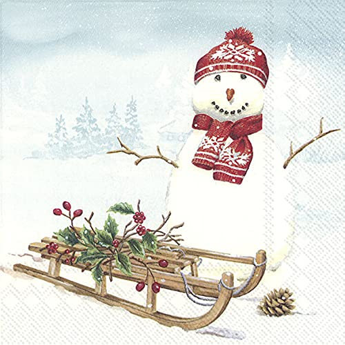 20 servilletas de trineo en muñeco de nieve, invierno, Navidad, decoración de mesa, 33 x 33 cm