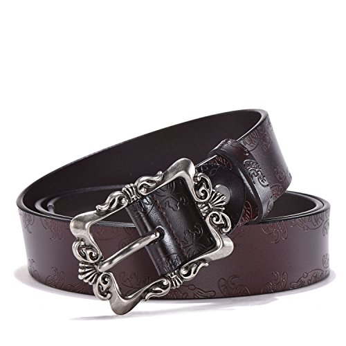 TUNGHO Genuine Leather Belts For Women Cowhide Embossing Design Carving Buckle Plus Size XXXL (XXL, Max pants size 48', Silvery Buckle/Dark Brown)