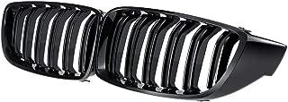 Double Bridge Front Kidney Sport Grill Grilles, Glossy Black, 4 Serie,F32 F33 F82 M4 13-17, F36 F83 14-17