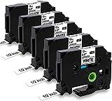 5x MarkField TZe231 12mm x 8m Negro sobre Blanco Cintas de Etiquetas compatible Brother P-Touch Reemplazo TZ TZe-231 Textil para PT-H105 H110 H200 H100LB 1000 1005 1250 1280 D400 D200 E100 Cube