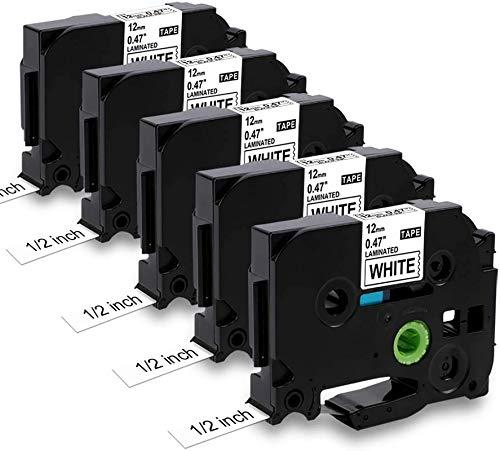 Nastro per Etichette MarkField Compatibile In sostituzione di Brother P-touch TZ TZe-231 Nero su Bianco per Brother Ptouch PT-1000 PT-1010 1080 H105 H100LB/R H108 D200 D400, 12mm x 8m, 5pack