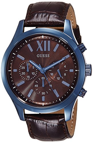 Guess Herren Analog Quarz Uhr mit Leder Armband W0789G2