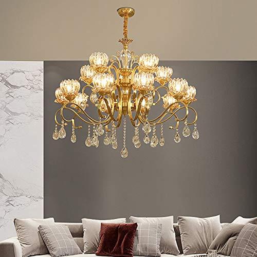 WWFF - Lámpara de techo LED de latón con forma de candelabro de cristal de color dorado y europeo, 100 × 81 cm, decoración para el hogar, dormitorio, sala de lectura E14 × 15 hace que su hogar lujoso
