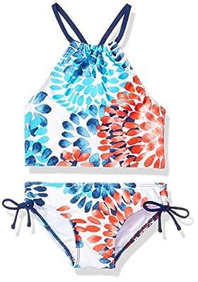 Kanu Surf Girls' Big Beach Sport Halter Tankini 2-Piece Swimsuit, Daisy Red/White/Blue, 10