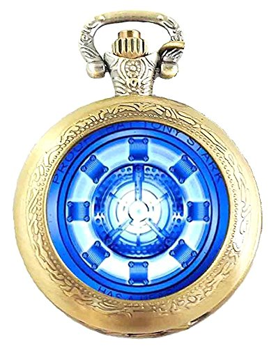 Caja de regalo de Iron Man - Reactor de bronce antiguo grabado/del collar de reloj de cuarzo reloj de bolsillo