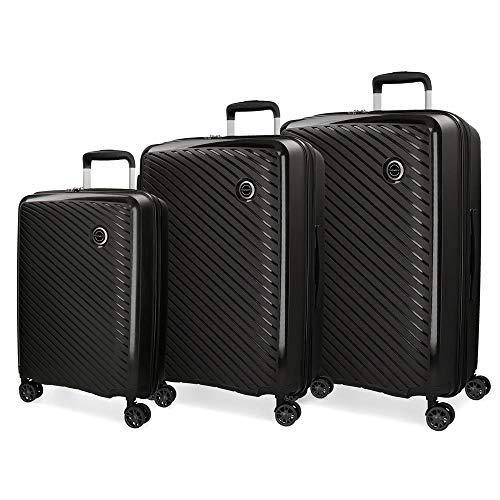 Movom Tokyo Juego de maletas Negro 55/66/78 cms Rígida Polipropileno Cierre TSA 218L 4 Ruedas Dobles Equipaje de Mano