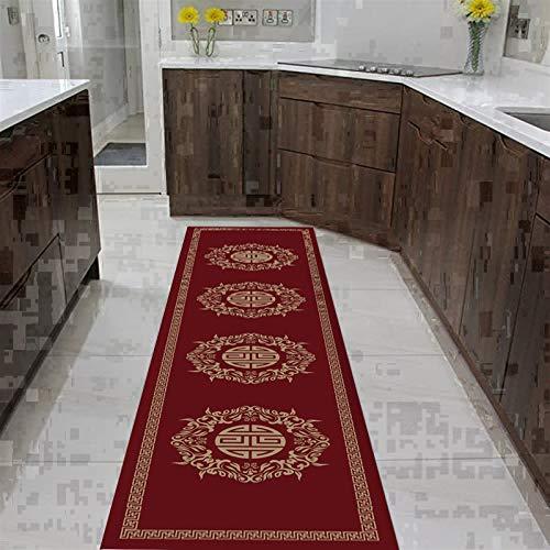 QianDa Alfombra De Pasillo, Escindible Alfombras Antideslizante Cenefa Rojo Estilo Europeo Impresión Diseño para Entrada Pasillo Habitación, Pila 0.6cm (Color : A, Size : 100x500cm)