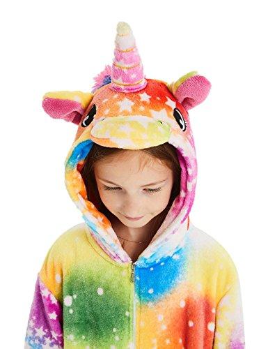 ABENCA Unisex Kids Fleece Onesie Unicorn Pajamas Animal Christmas Halloween Cosplay Costume Sleepwear,Colorful Unicorn Rainbow New, 130