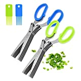 2PCS Stainless Steel Herb Scissors with 5...