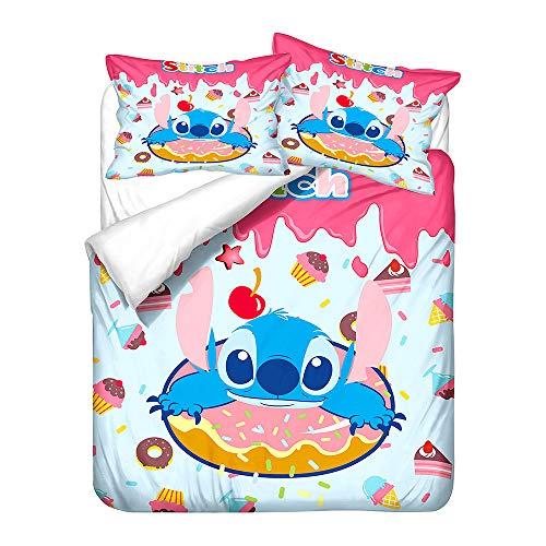 Probuk Juego de ropa de cama 3D Stitch, 100 % microfibra, diseño anime, funda nórdica para niños y niñas, con funda de almohada (A-02,220 x 260 cm (50 x 75 cm)