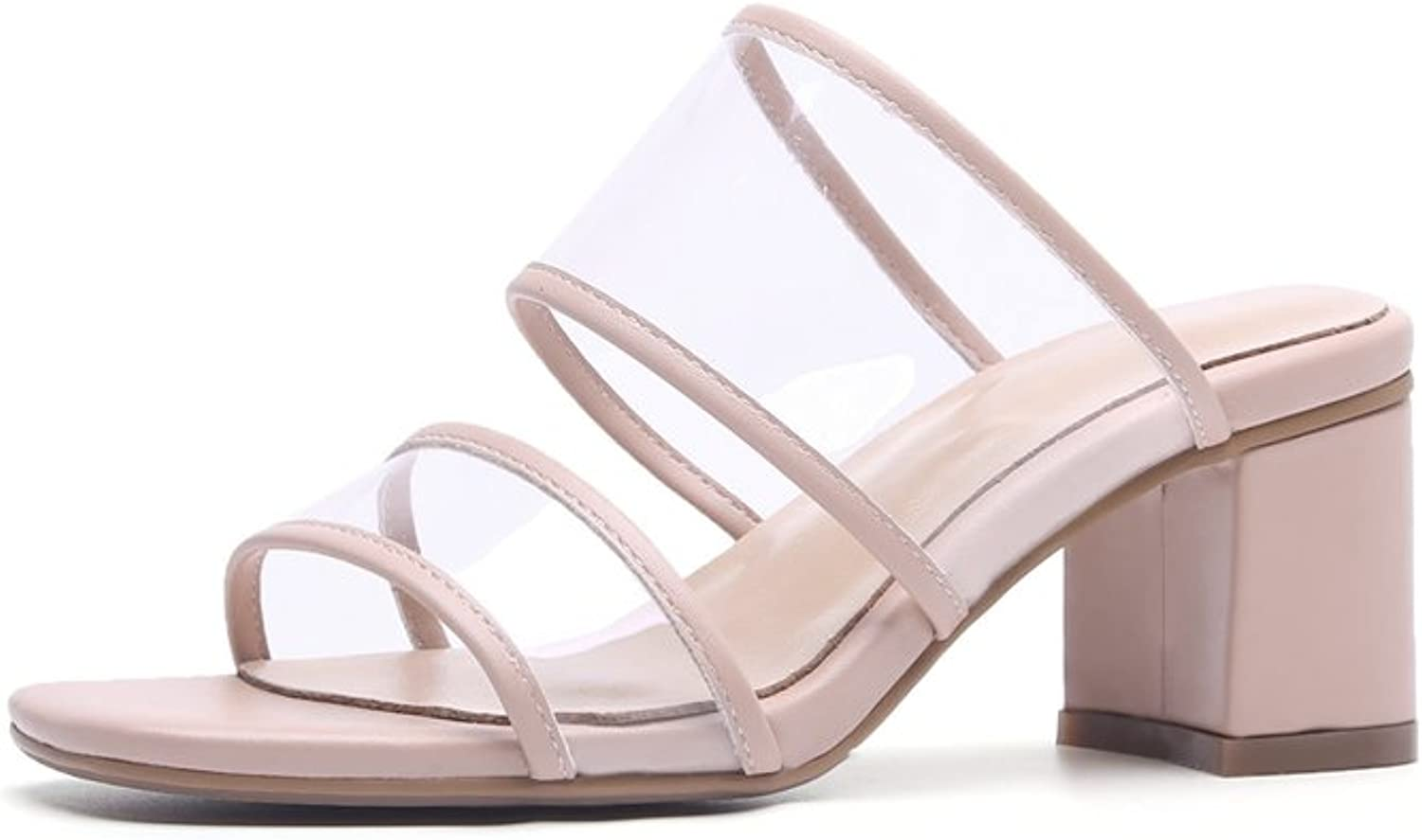 Exing Women's shoes 2018 New Summer Fall Sandals Oxford Square Toe Peep Toe Ladies shoes Rough Heel Sandals Slipper for Office & Career Dress