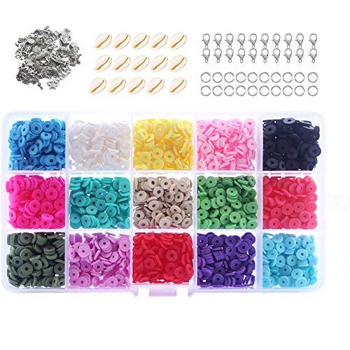 VEGCOO - Conjunto de 2850 perlas espaciadas de 15 colores, aproximadamente 190 unidades por color, 65 accesorios para manualidades, collares, pulseras (6 x 2 mm)