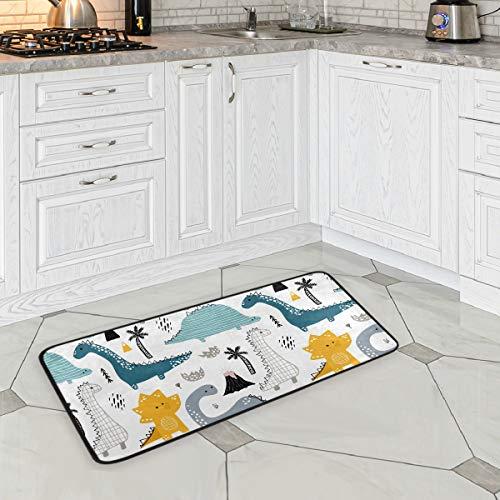 ZOEO Dinosaur Bath Runner Rug Cream Dino Non Slip Area Mat Rugs for Bathroom Kitchen Indoor Carpet Doormat Floor Dirt Trapper Mats Shoes Scraper 39'x 20'