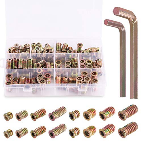 "Rustark 120 pcs 1/4"" and 5/16"" Carbon Steel Zinc Plated Color Threaded Insert Nuts Assortment Set Screw-in Nut Hex Socket Drive Wood Bolt Fastener Connector for Wooden Furniture"