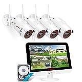 【3MP with Audio】 Kit de Cámaras de Vigilancia WiFi con Monitor LCD de 13 Pulgadas, ANRAN 8CH 1536P Kits de DVR de Vigilancia WiFi con Cámaras IP 4PCS Disco Duro de CCTV con 1 TB