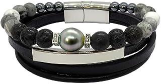 Inspiration Agate: Bracelet homme en cuir, agate et perle de Tahiti baroque BRO8537