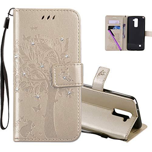 COTDINFOR LG Stylus 2 Hülle für Mädchen Elegant Retro Premium PU Lederhülle Handy Tasche mit Magnet Standfunktion Schutz Etui für LG Stylus 2 / LS775 Gold Wishing Tree with Diamond KT.
