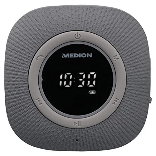 MEDION P66096 Duschradio mit Bluetooth (Badradio, UKW Radio, Saugnapf, LED-Display, IPX6 Wasserdicht, integrierter Akku) grau