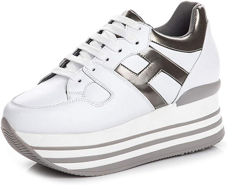 YAN Damenschuhe 2019 Leder-Turnschuhe Plattform Schuhe Mode Low-Top Casual schuhe Lace Up Athletic Schuhe Training Schuhe Wei,Weiß,39