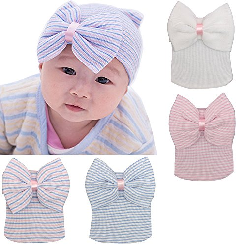 DRESHOW BQUBO Newborn Hospital Hat Infant Baby Hat Cap with Big Bow Soft Cute Knot Nursery Beanie