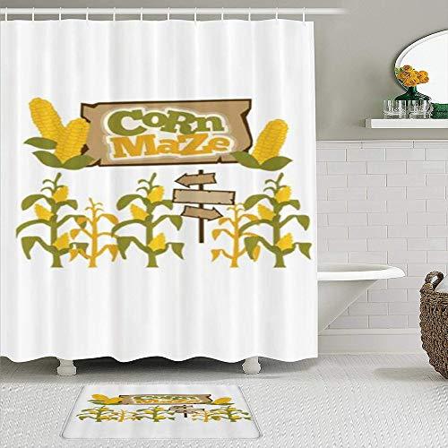 USOPHIA Juego de Cortinas y tapetes de Ducha de Tela,Laberinto de maíz Flechas de maíz,Cortinas de baño repelentes al Agua con 12 Ganchos, alfombras Antideslizantes