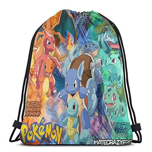 Multifunctional drawstring bag backpack handbag shoulder bag sports bag basketball fitness travel unisex Pokemon