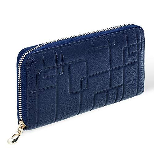 bluzelle Echt-Leder Damen-Geldbörse - Clutch mit organisierter Aufteilung für Zahlungsmittel & Smartphone - Neumodisches Design, Farbe:Dunkelblau