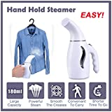 Flurries 👍 Hand-held Steamer Steam Iron for Most Clothes Fabrics - Wrinkle Remover-Clean-Sterilize-Sanitize-Refresh-Treat-Defrost - Fast Heat Up Portable Home Travel Electrical Appliances (White)