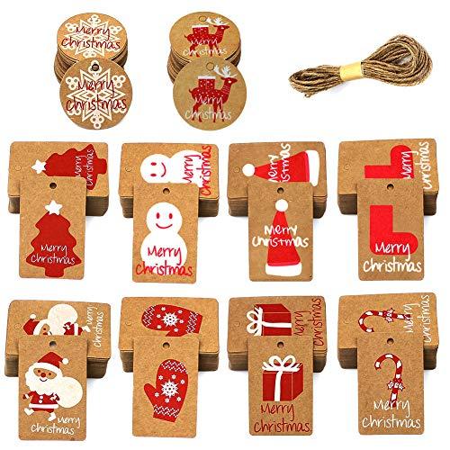 100 Piezas Etiquetas de regalo Navidad Papel Kraft Etiquetas con 82 FT Yute Twine String, Etiquetas de Regalos 10 diseños Christma imprimibles para bricolaje Navidad Holiday Wrap de regalo Bolsas