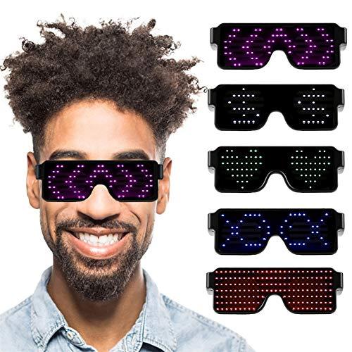 BEAUTOP LED-Brille, wiederaufladbare USB-Blitzsonnenbrille mit 8 Modi Schneller Blitz - Display-Meldungen, Animation, Zeichnungen, Perfekt für Party, Bar, Rave, Festival