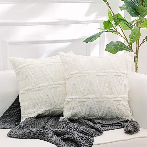 NordECO HOME Fundas de cojín Decorativas de Terciopelo Suave de Lujo, Suaves Fundas de Almohada para sofá Cama, decoración del hogar, 45 x 45 cm, Blanco, Paquete de 2