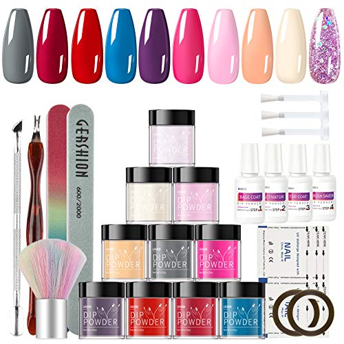 Gershion Dip Powder Nail Starter Kit 10 Colors Glitter Nude Gray Acrylic dipping Powder System With Base Activator And Top Coat Manicure Essential Set No Nail Lamp Needed P-11