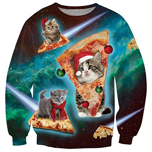 uideazone Ugly Christmas Pizza Cat T Shirt Women Men Xmas Party Sweater Plus Size, Cat-1, Asia XXL= US XL