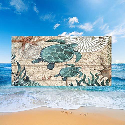 Fansu Toallas de Playa Microfibra Grandes, Oceano Animal Impresión Toallas de Playa Compacto Ligera Blando Verano Manta de Playa para Viaje Playa Nadar (Broncearse Estrella de mar,80x160cm)