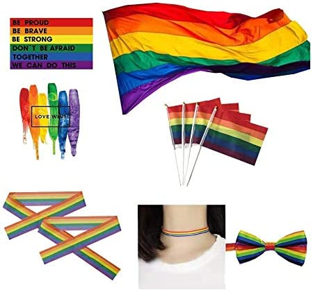 Time Cheap sale sale Big LGBT Flag- Rainbow Polyester- Homosexual Pride Durabol