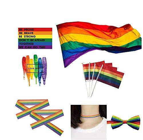 LGBT Flagged Pride Parade Qualitäts Fahne Flagge Regenbogen Rainbow Polyester Aufhängen Regenbogen Gay Lesben Flagge